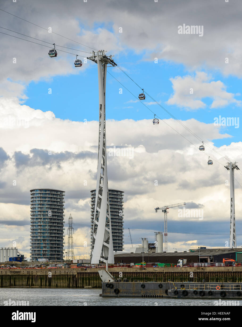 One of the pylons of the Emirates Air Line (cable car, cablecar) across the River Thames in London. Stock Photo