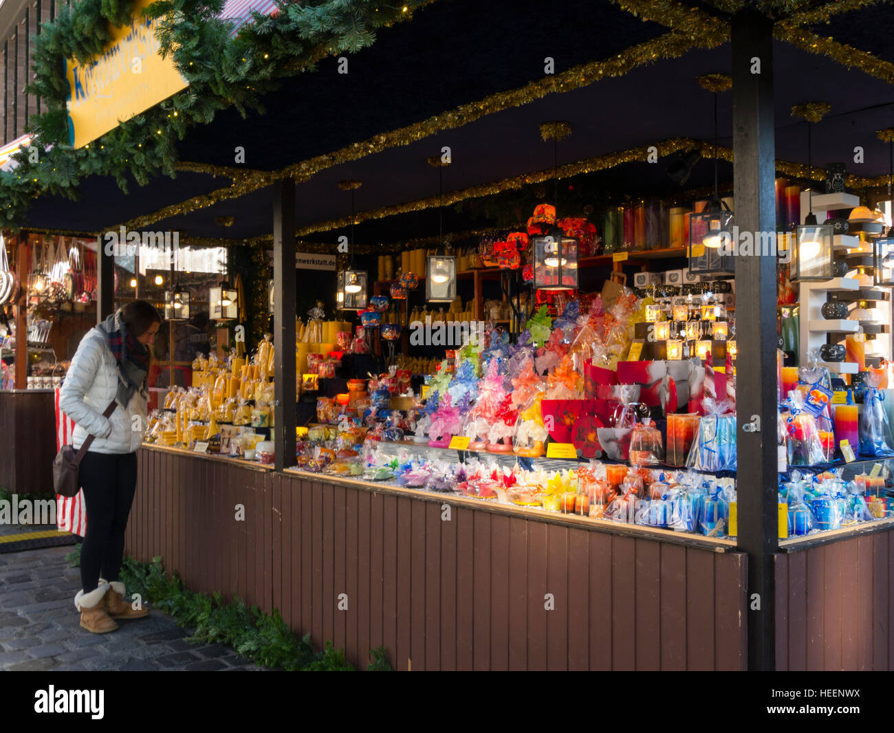 Market stall selling Christmas candles Christmas decorations Stock ...