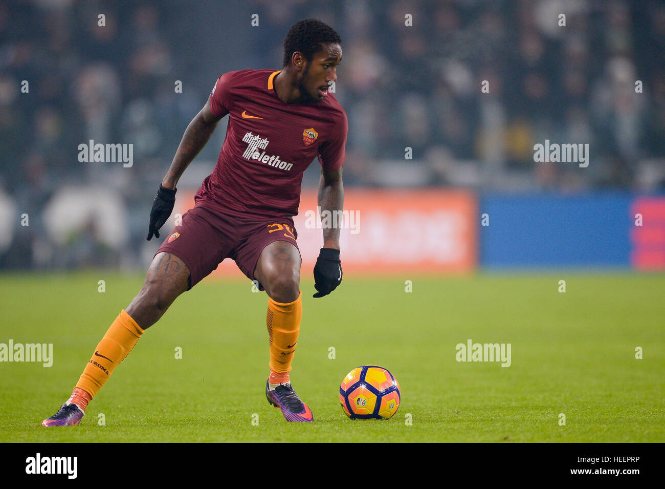 Turin, Italy. 2016, 17 december: Gerson of AS Roma in action during the Serie A football match between Juventus - Stock Image