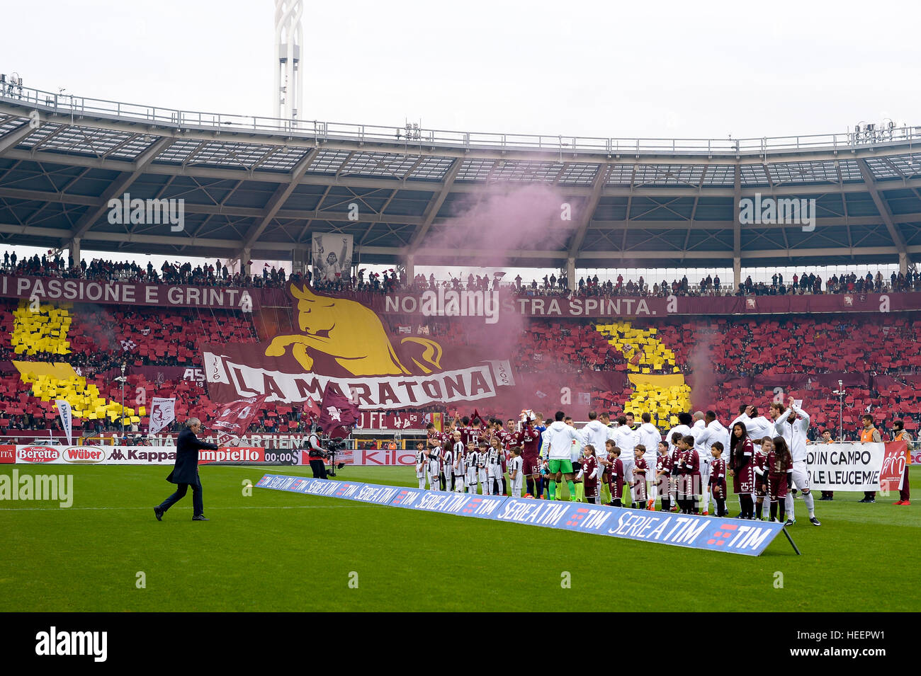 Turin, Italy. 2016, 11 december: The atmosphere during the Serie A football match between Torino FC and Juventus - Stock Image