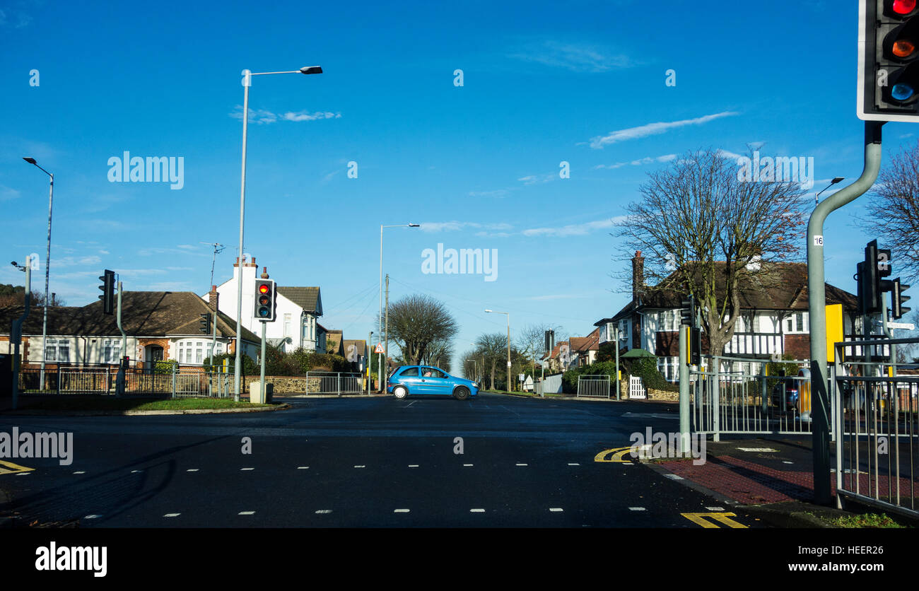 Quiet suburban crossroads. - Stock Image