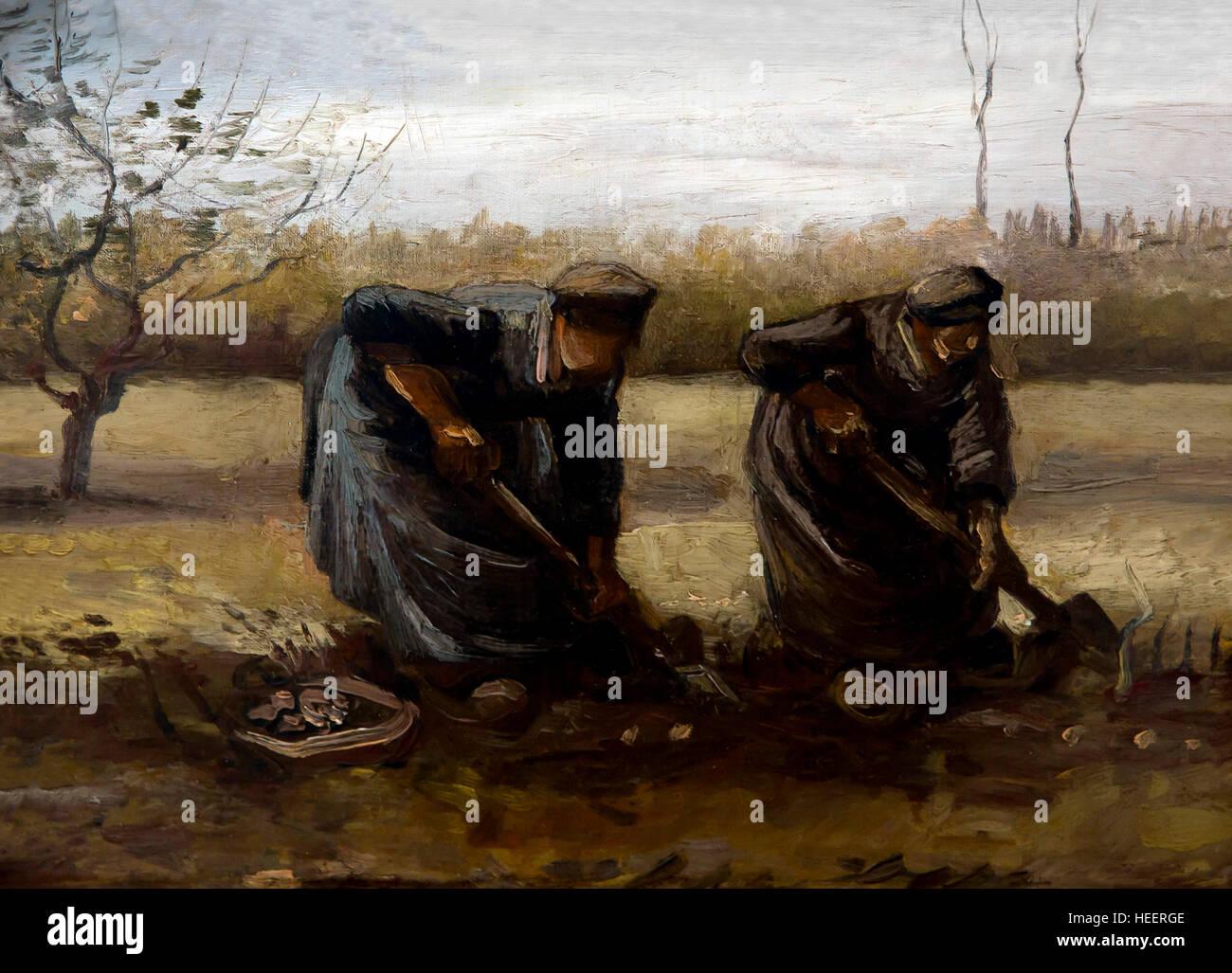 Peasant Women Digging up Potatoes, by Vincent van Gogh, 1885, Kroller-Muller Museum, Hoge Veluwe National Park, - Stock Image