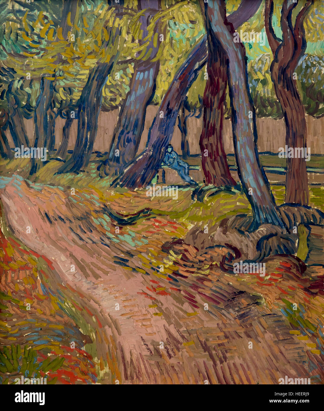 Path in the Garden of the Asylum, by Vincent van Gogh, 1889, Kroller-Muller Museum, Hoge Veluwe National Park, Otterlo, - Stock Image