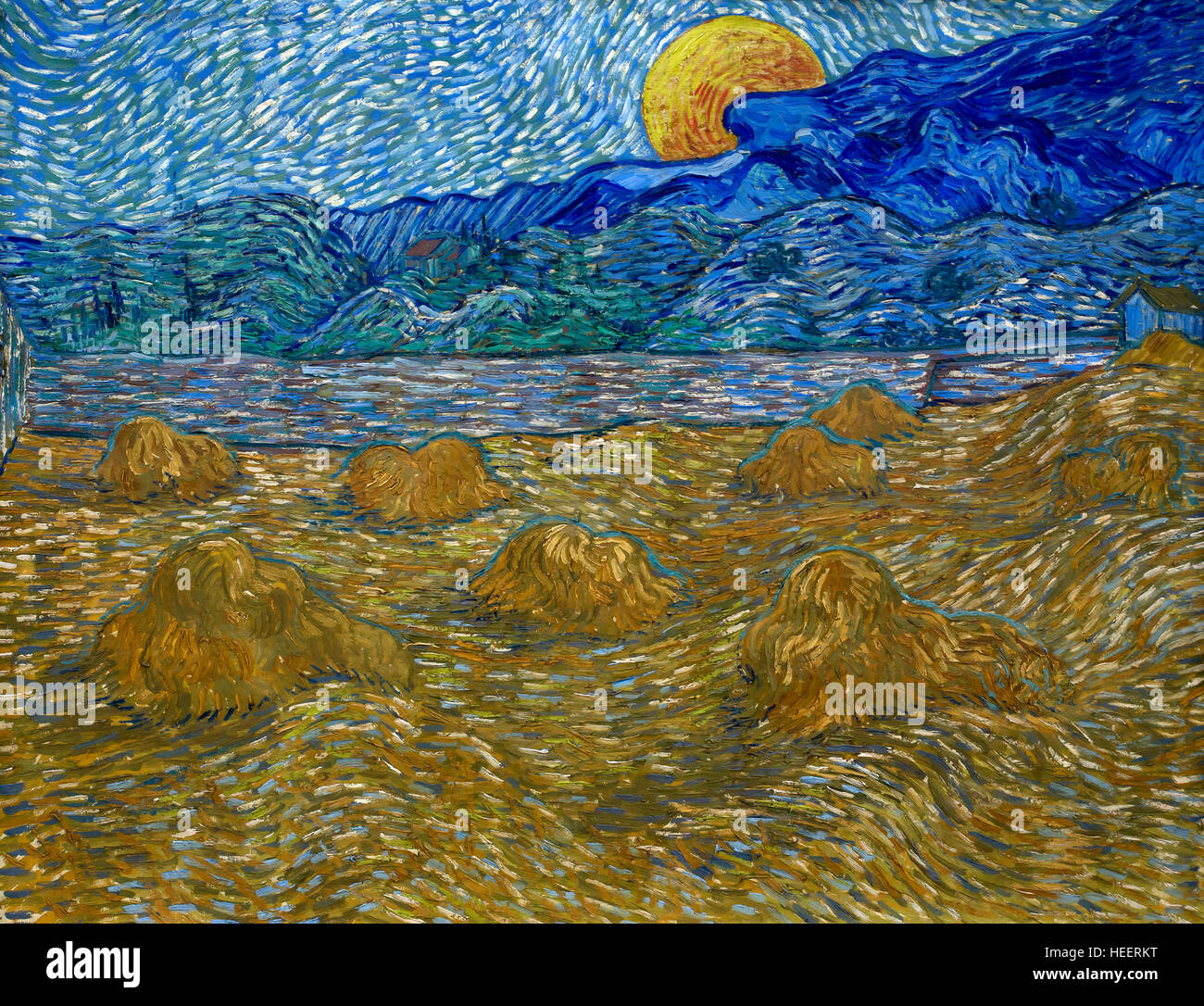 Landscape with Wheat Sheaves and Rising Moon, Vincent van Gogh, 1889, Kroller-Muller Museum Hoge Veluwe National Stock Photo