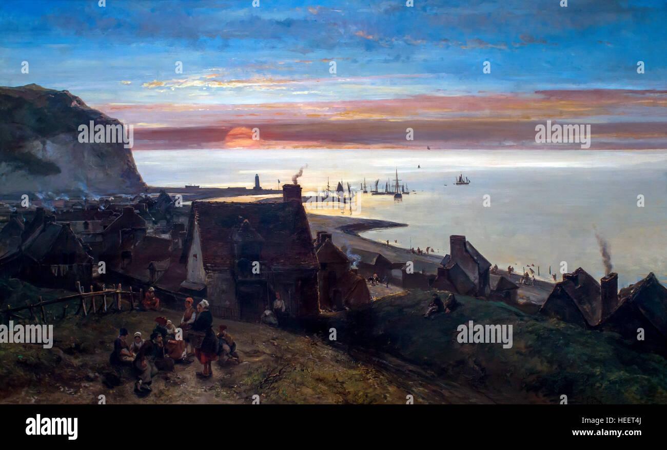 Saint Valery-en-Caux, Sunset, by Johan Barthold Jongkind, 1852, Kroller-Muller Museum, Hoge Veluwe National Park, - Stock Image