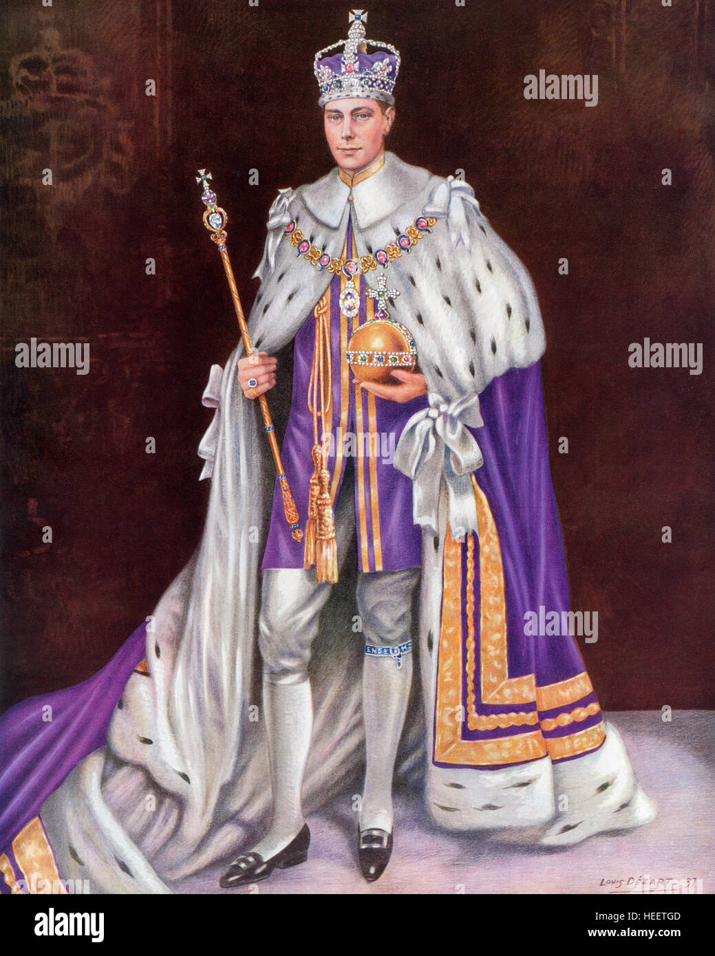 George VI, 1895 – 1952.  King of the United Kingdom and the Dominions of the British Commonwealth. Seen here on - Stock Image