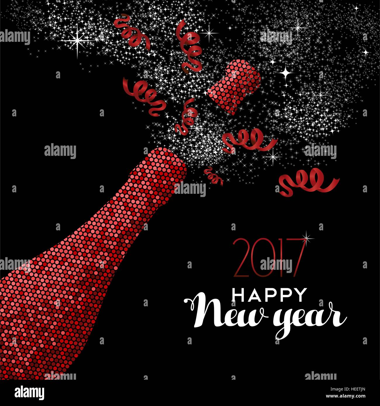 happy new year 2017 luxury red champagne bottle celebration in mosaic style ideal for holiday card or elegant party invitation eps10 vector