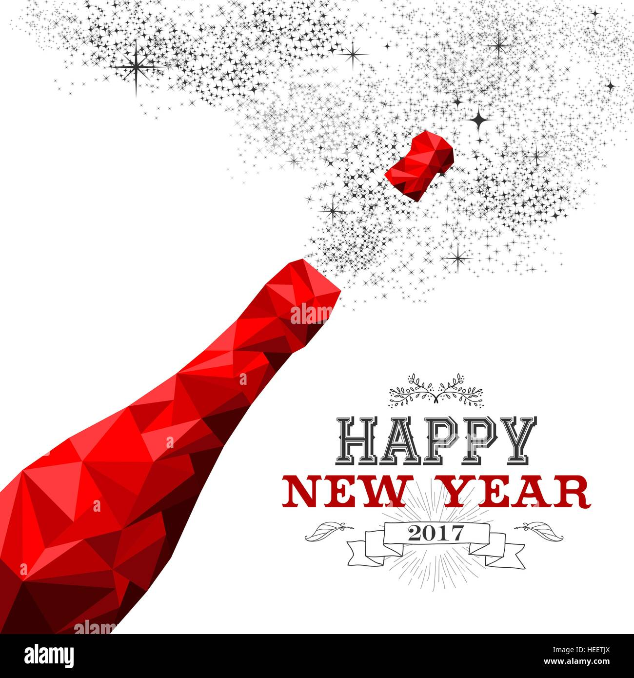 happy new year 2017 fancy red champagne bottle in hipster triangle low poly style ideal for greeting card or elegant holiday party invitation eps10