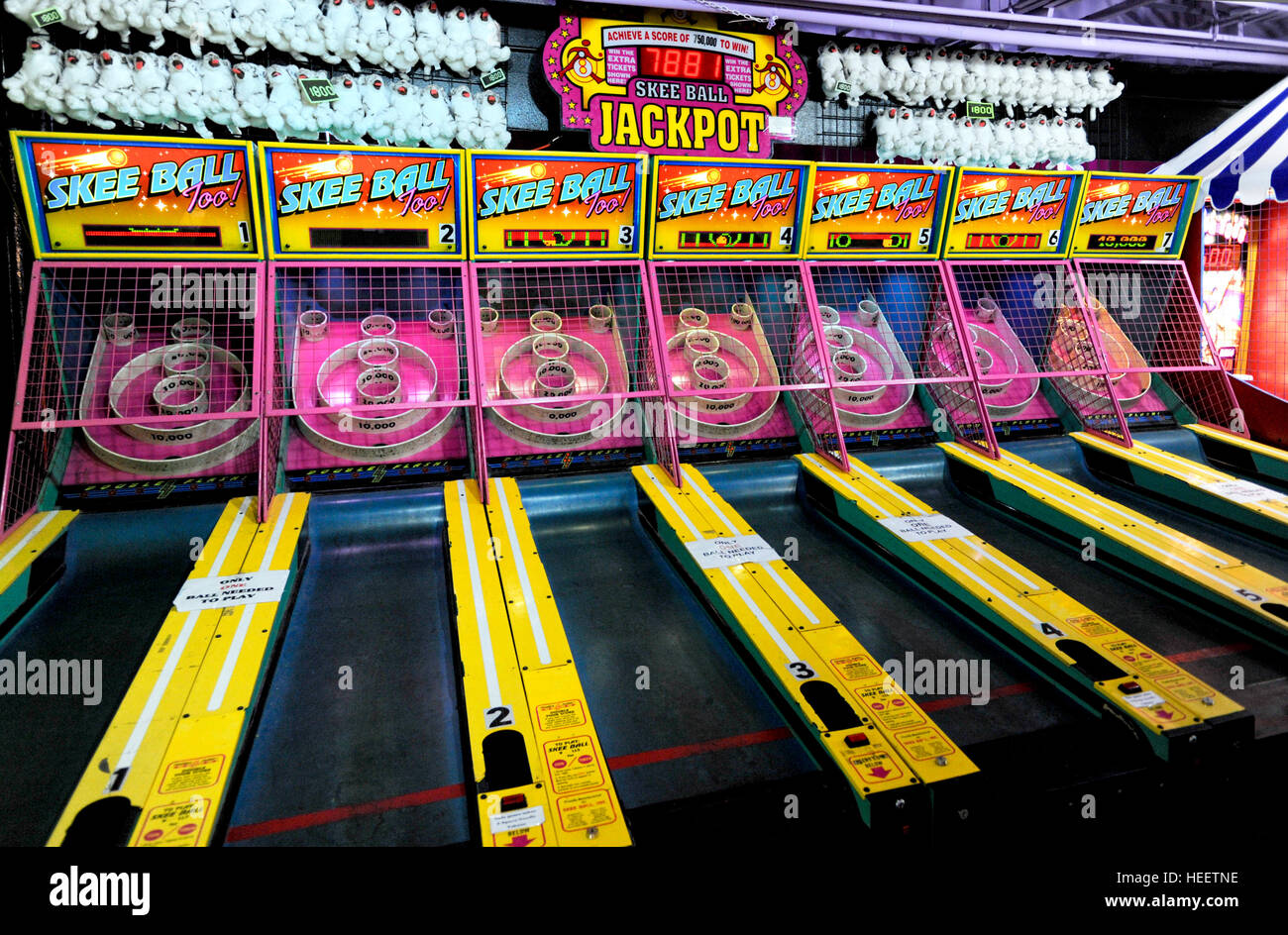 A Skeeball game in a Gatlinburg Tennessee amusements arcade, - Stock Image