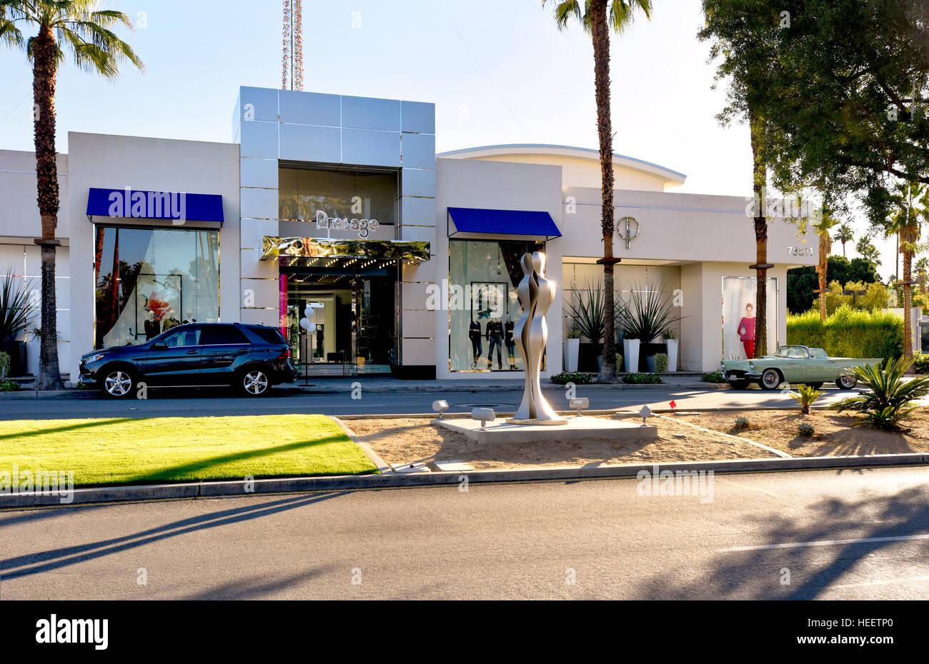Prestige upscale shopping on El Paseo Drive - Stock Image