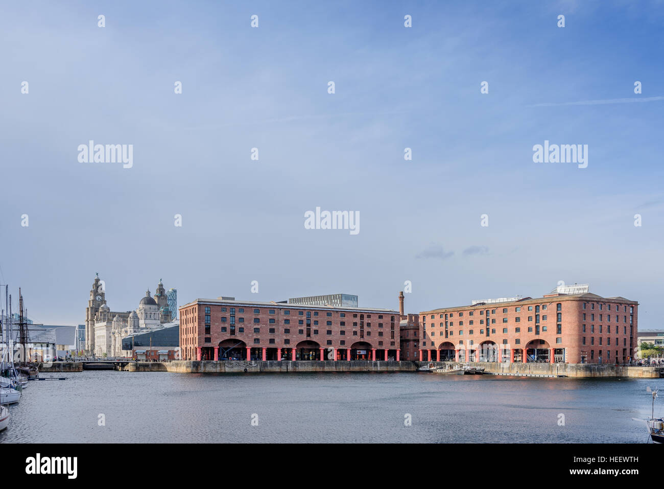 The Albert Dock is a complex of dock buildings and warehouses in Liverpool, England. - Stock Image