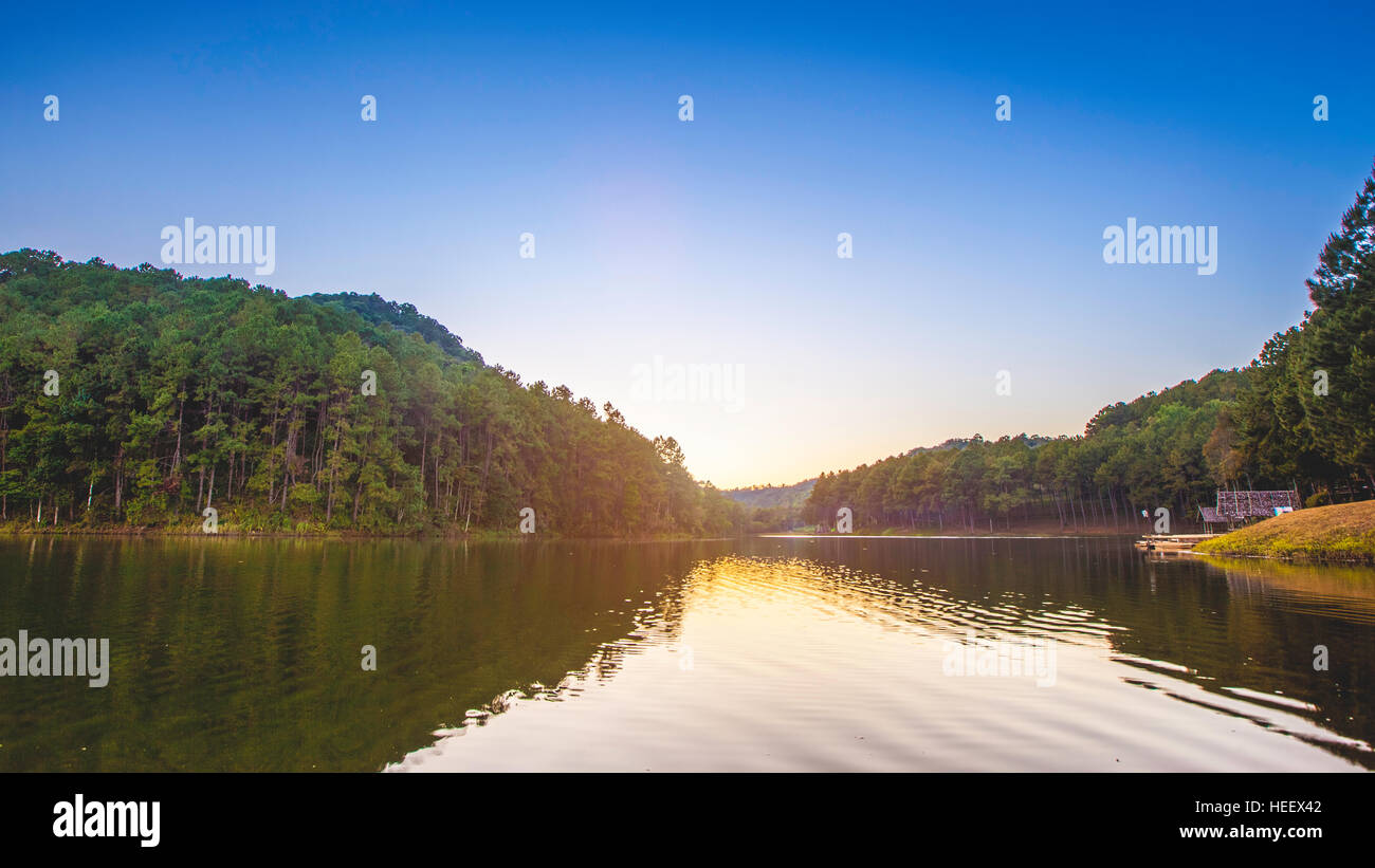 Pang Ung. Beautiful forest lake in the morning. Mae Hong Son. Thailand - Stock Image
