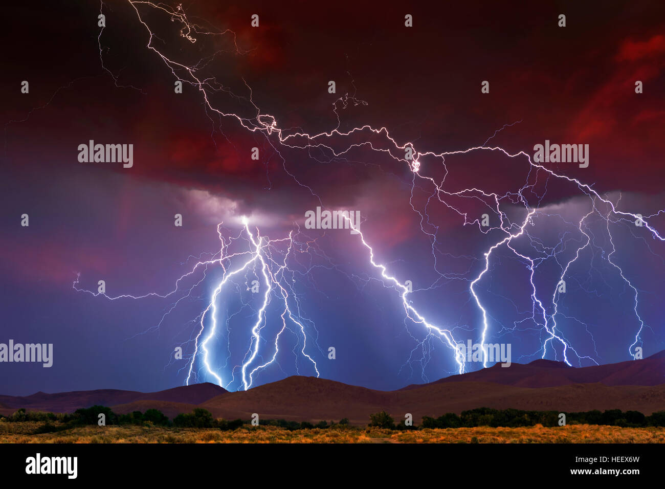 Stormy Skies with multiple lightning strikes - Stock Image