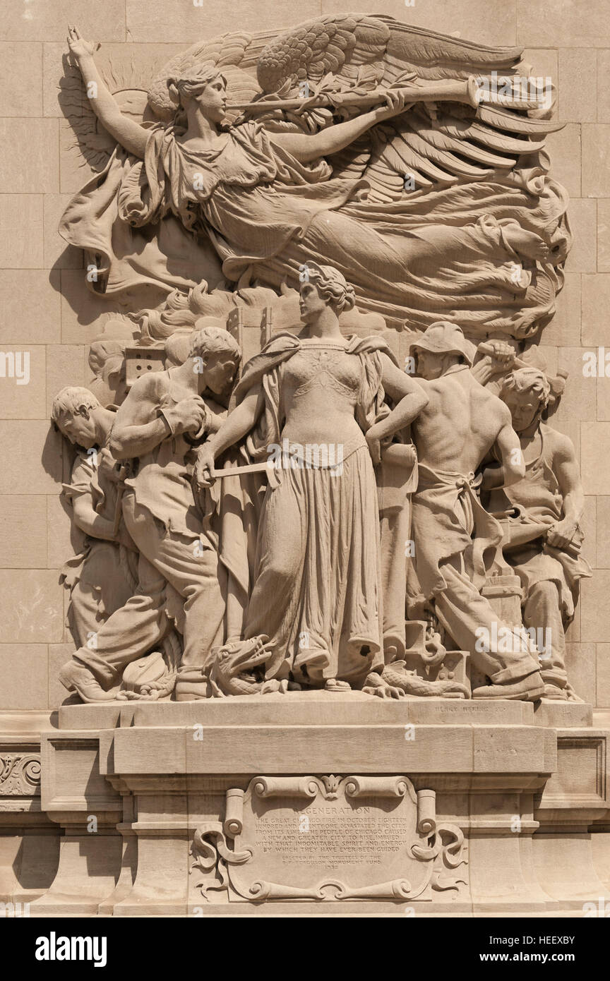 Regeneration, by James Earle Fraser, one of the sculptures adorning the Michigan Avenue Bridge / DuSable Bridge - Stock Image