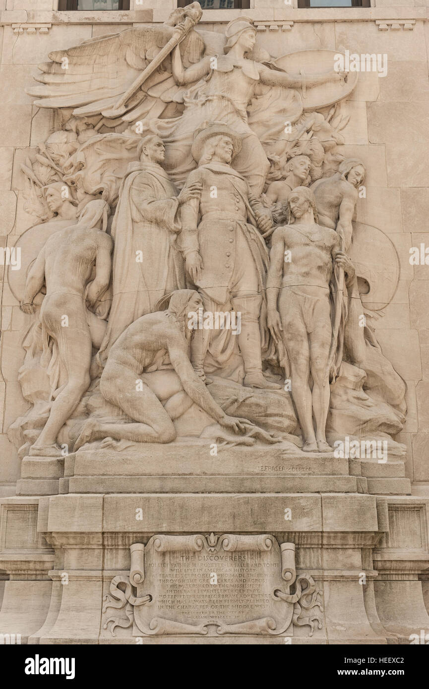 The Discoverers, by James Earle Fraser, one of the sculptures adorning the Michigan Avenue Bridge / DuSable Bridge Stock Photo
