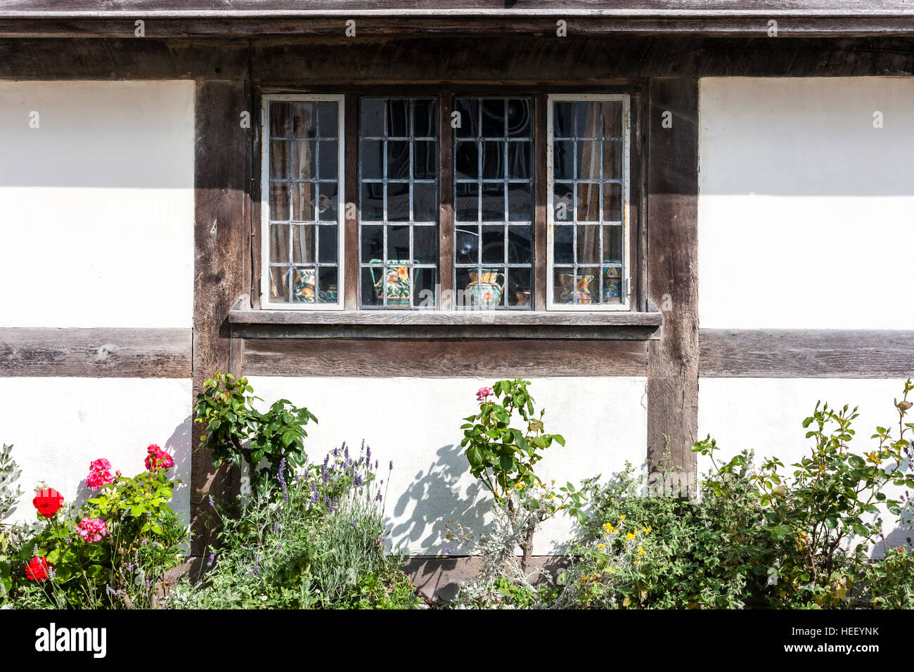 Typical 16th century house wood framed window, f St Anthony's timber framed late medieval Tudor wealthy merchant's - Stock Image