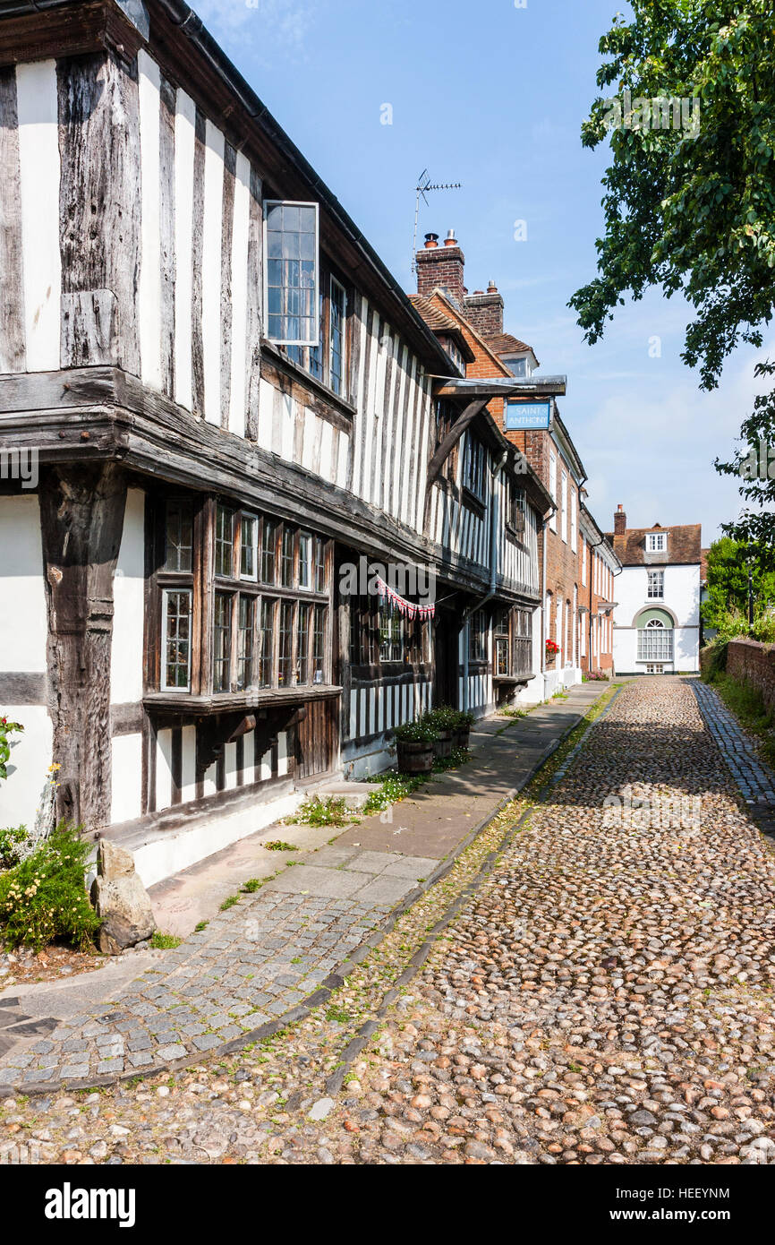 Historic old English town of Rye. Church Square, St Anthony's, timber framed late medieval Tudor wealthy merchant's - Stock Image