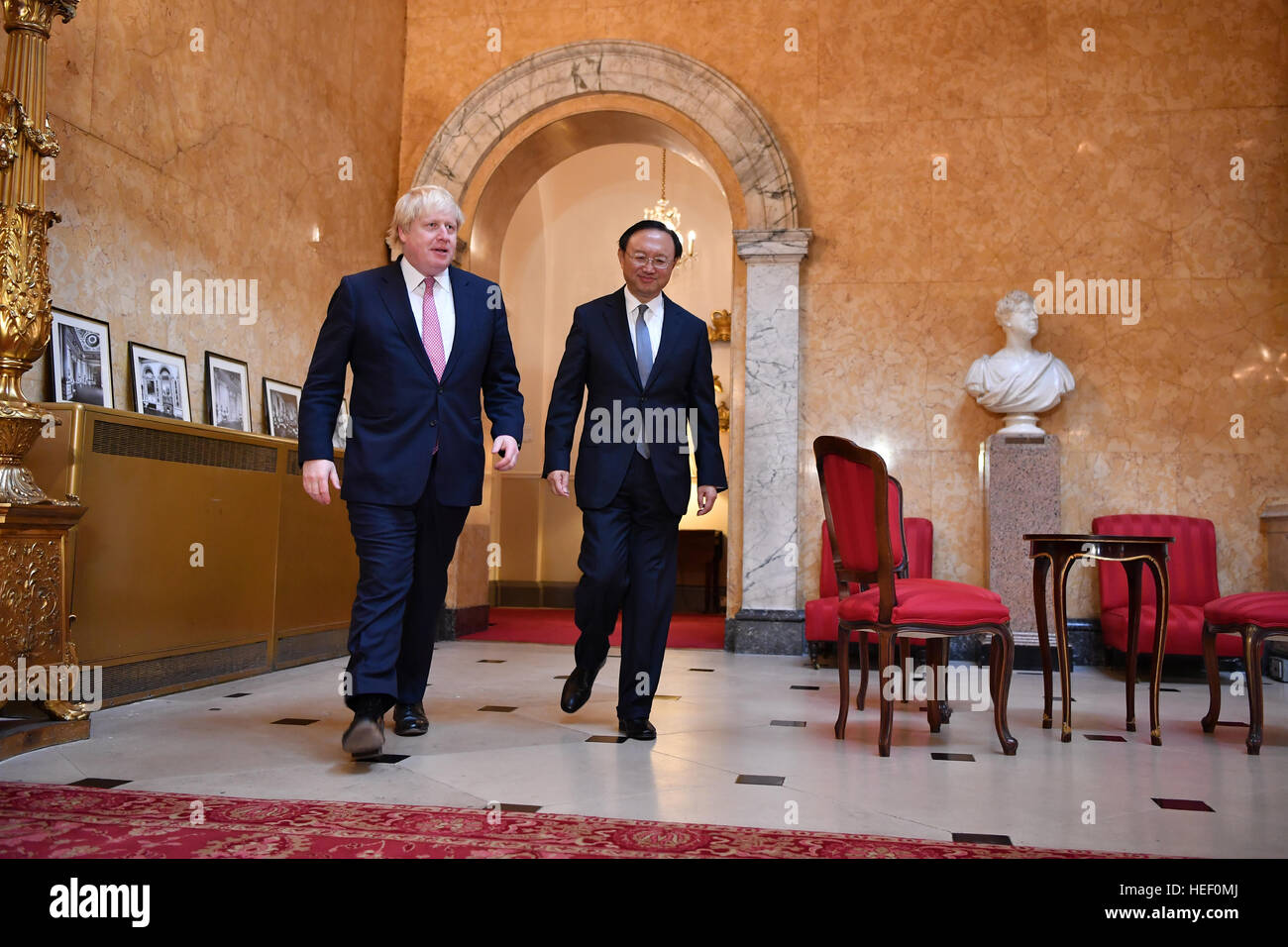 Foreign Secretary Boris Johnson welcomes Chinese State Councillor Yang Jiechi as they meet for UK-China Strategic - Stock Image