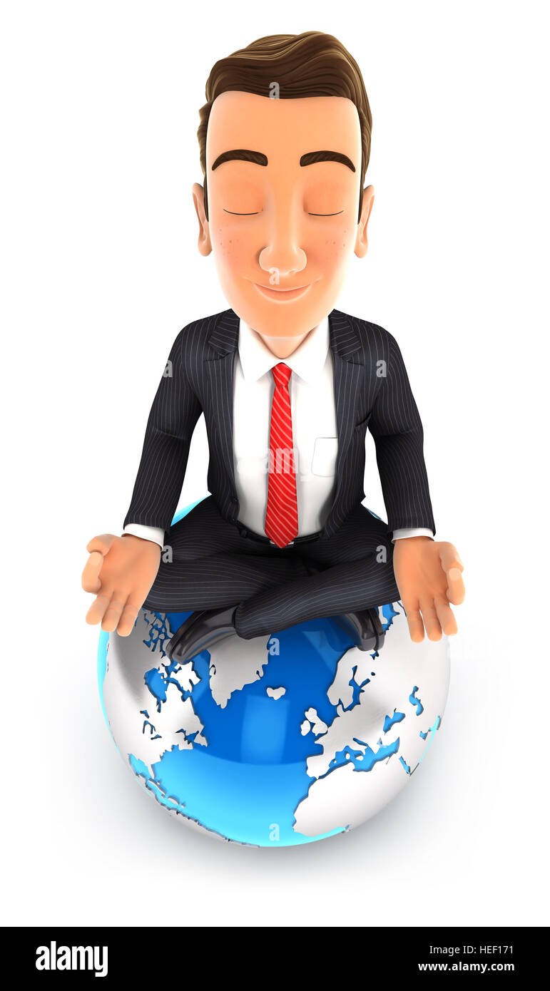 3d businessman doing yoga on top of the earth, illustration with isolated white background Stock Photo