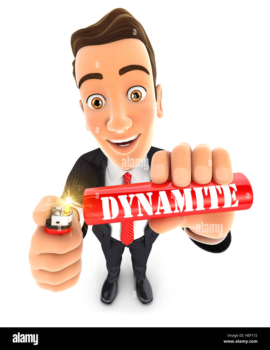 3d businessman lighting a stick of dynamite, illustration with isolated white background Stock Photo