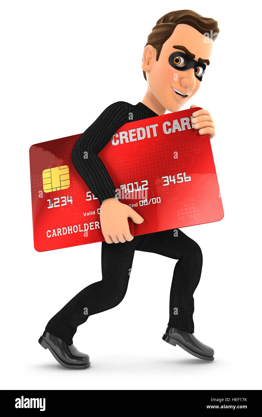 3d thief with a stolen credit card, illustration with isolated white background Stock Photo