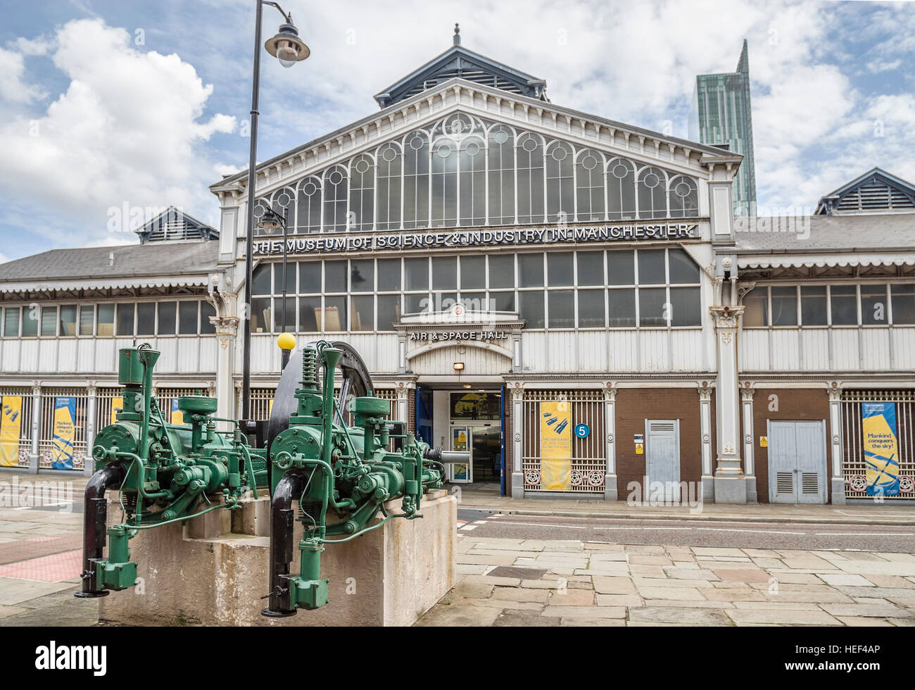 The Museum of Science and Industry in Manchester (MOSI), located in Manchester, England, is a large museum devoted - Stock Image