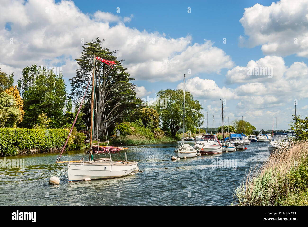 Sailing ship on the River Frome near Wareham with the Lady St.Mary church in the background, Dorset, South East - Stock Image