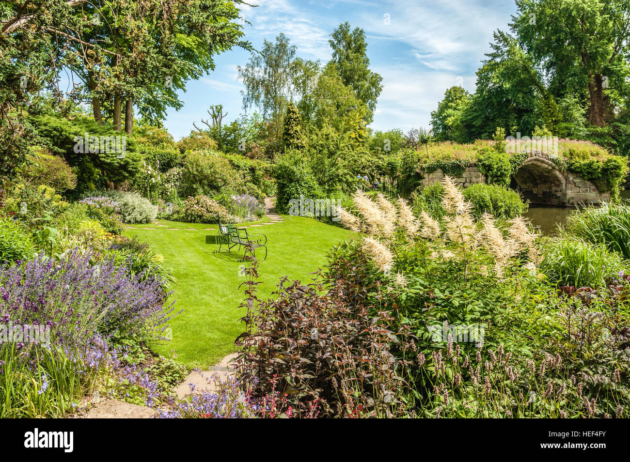 Mill Garden just below the Caesars Tower of Warwick Castle in Warwick a medieval county town of Warwickshire, England. - Stock Image
