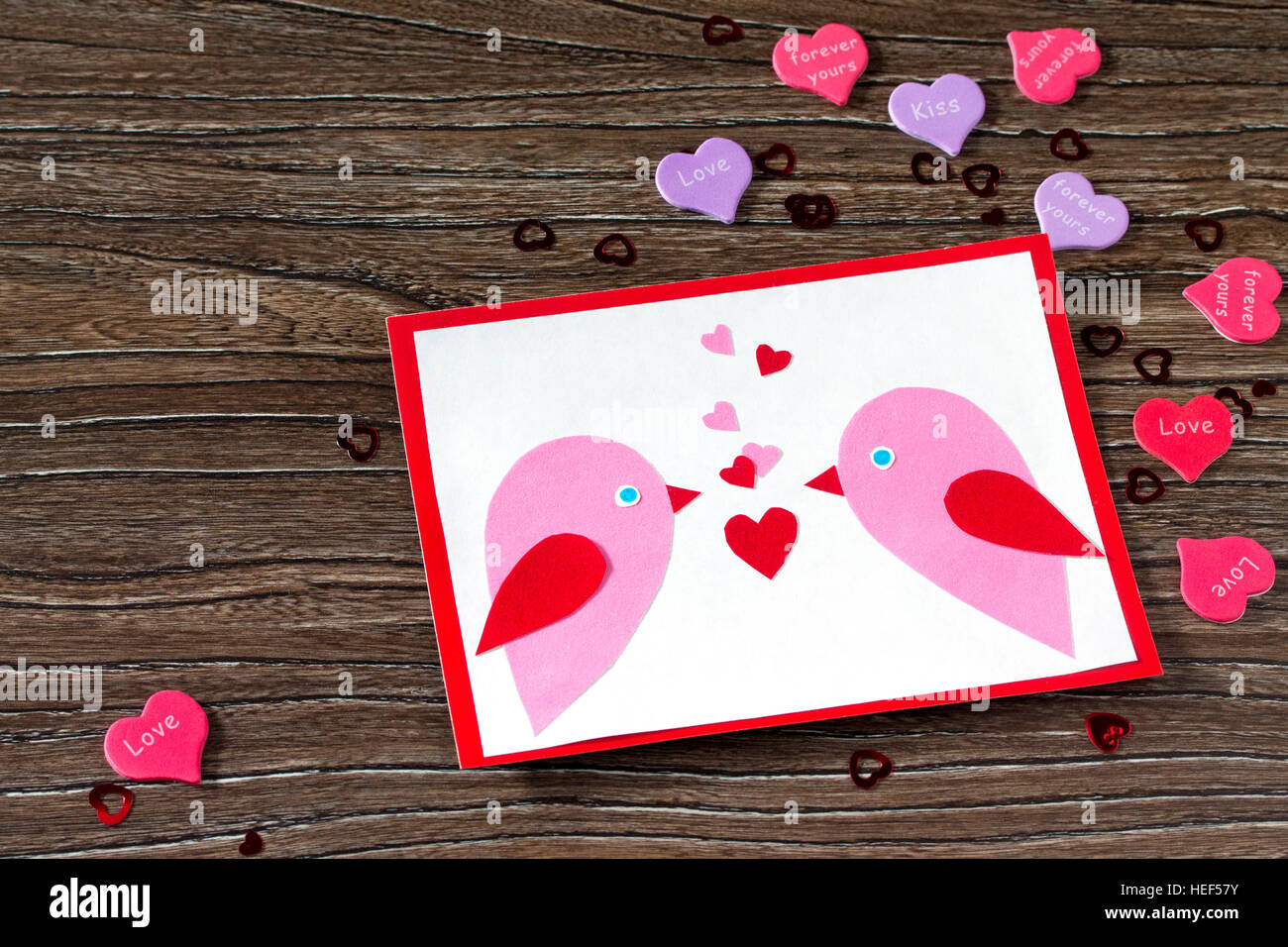 Children S Greeting Card Two Birds And Heart From A Paper On Stock