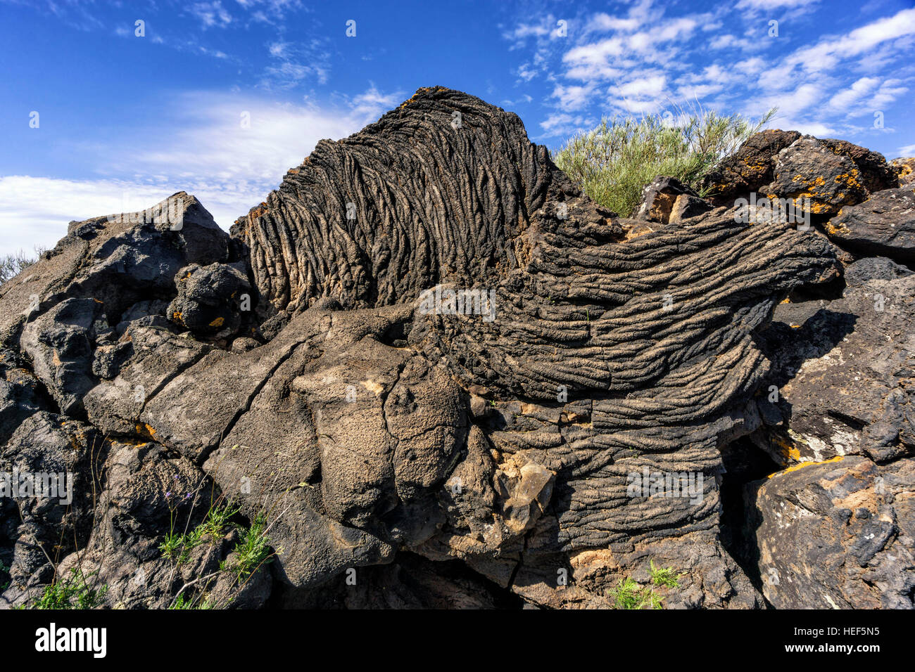 Ropy Lava formation in the natural monument ,Monumento natural del tubo volcanico de Todoque,  Las Manchas, La Palma - Stock Image