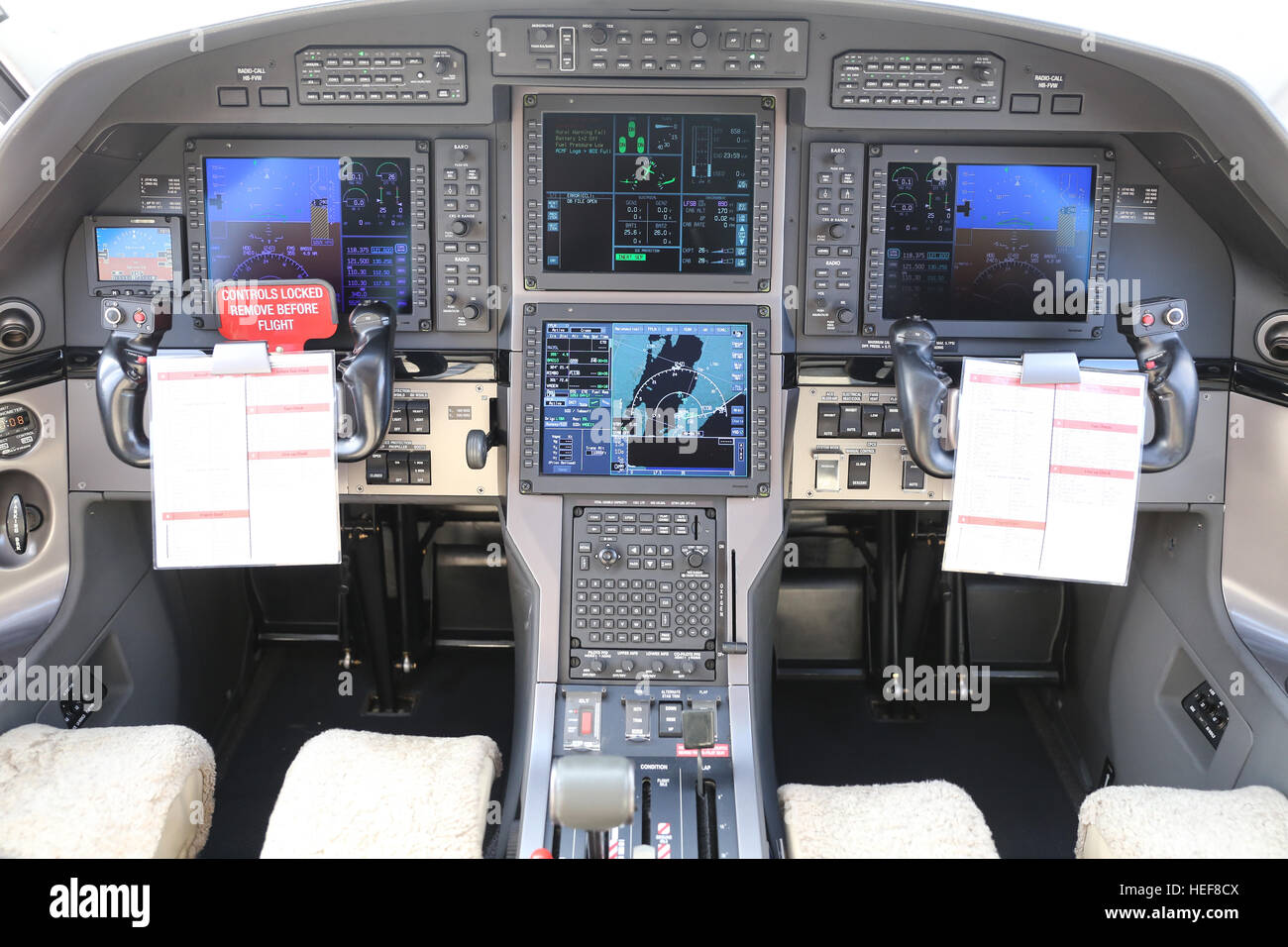 Controls in Cockpit of a Turboprop Airplane - Stock Image