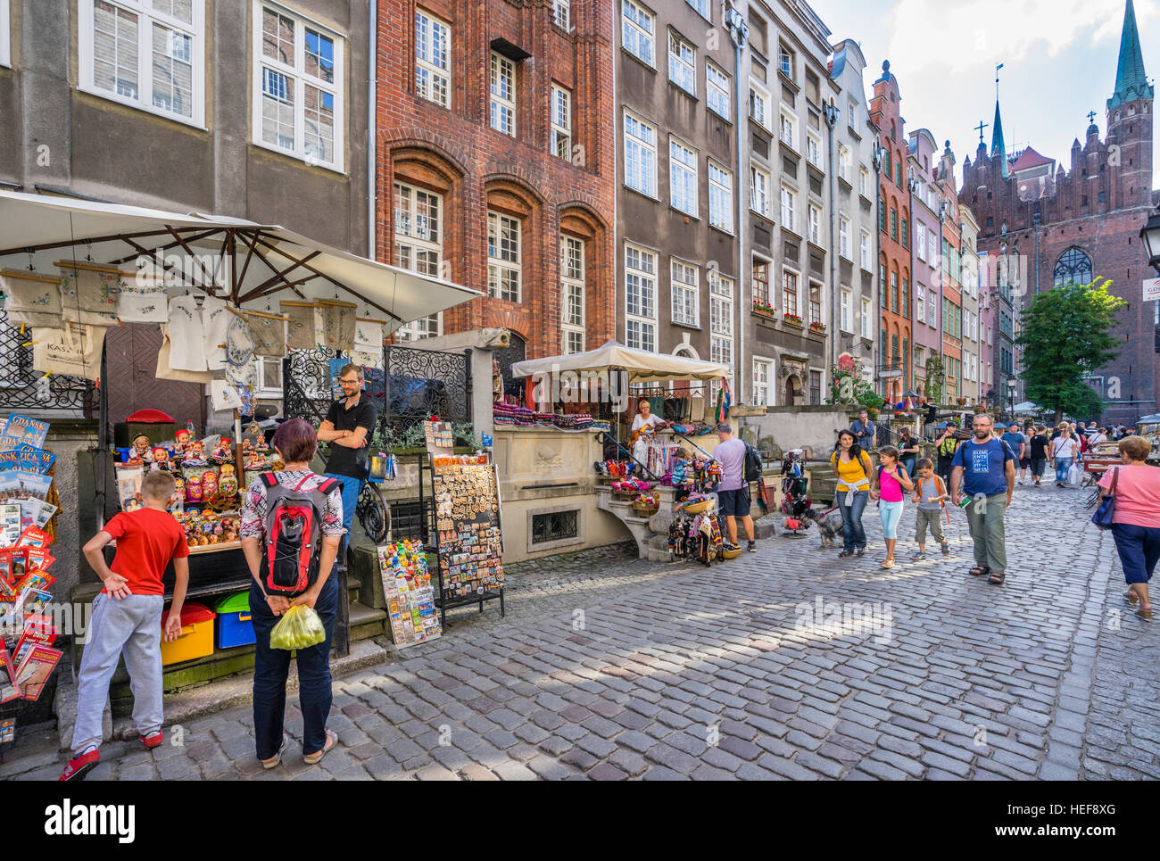 Poland, Pomerania, Gdansk (Danzig), view of cobbled Frauengasse (Mariacka Street), famous for its prominent porches - Stock Image