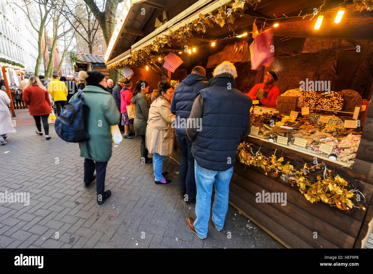 Christmas Market in Manchester city centre. - Stock Image