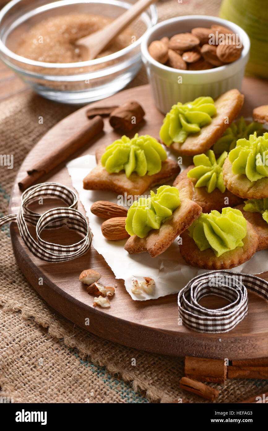 cookies with almonds and pistachio cream homemade - Stock Image