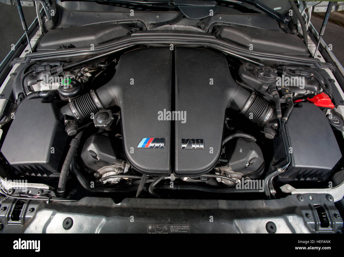 V10 Engine In A Bmw E60 M5 2003 2010 German Super Saloon Stock