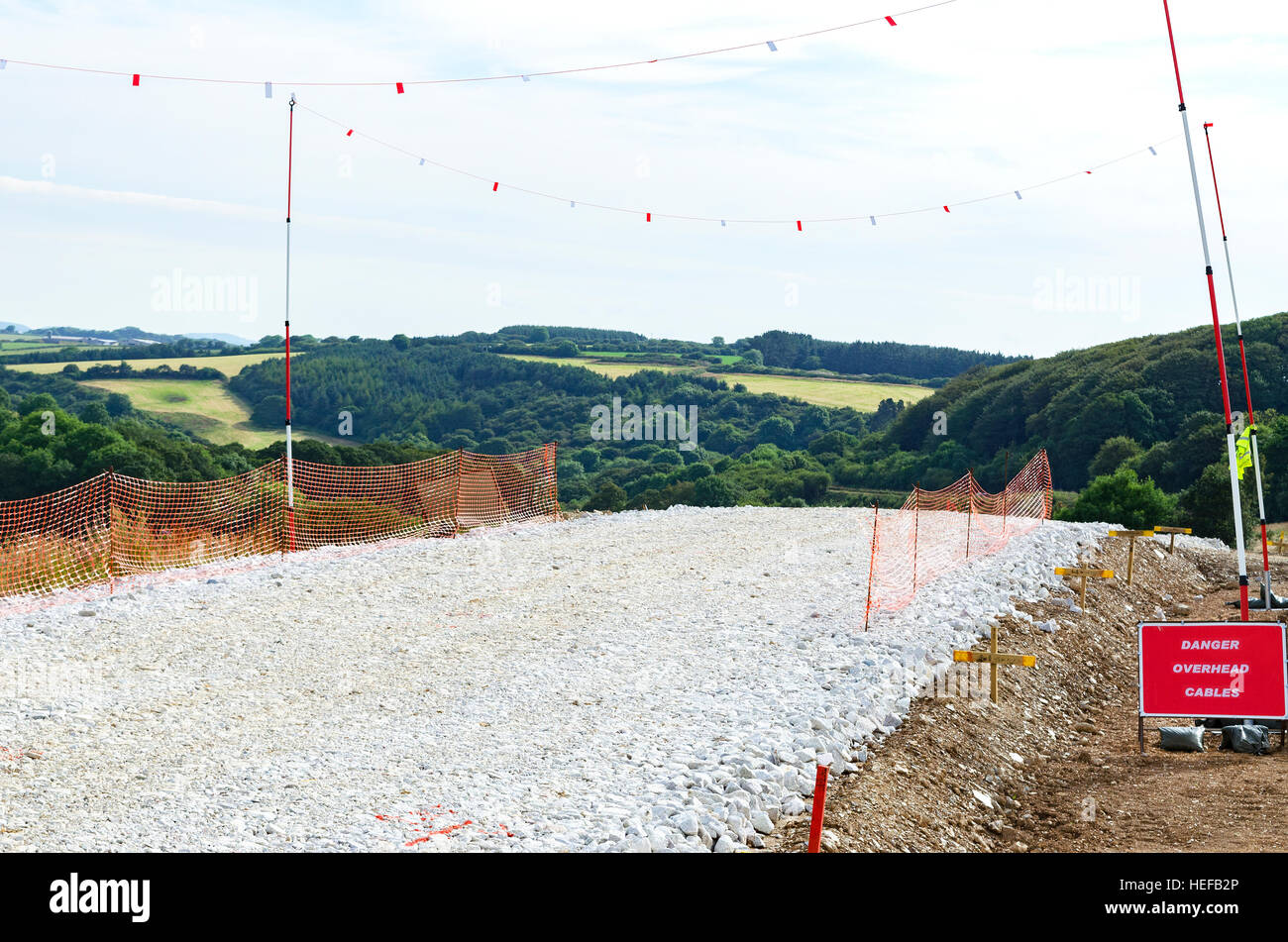 A new road construction on greenbelt land near Truro in Cornwall, UK - Stock Image
