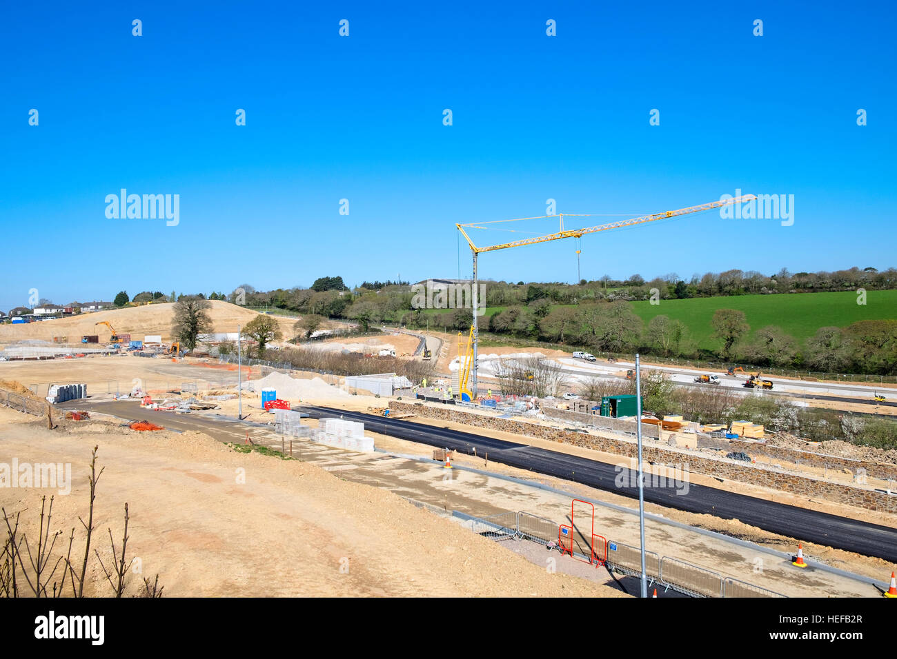 A new development on greenbelt land near Truro in Cornwall, UK - Stock Image