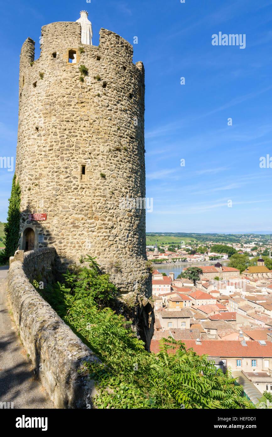 The 16th century watchtower Tour de l'Hôpital above the medieval town of Tournon-sur-Rhône, Ardèche, - Stock Image
