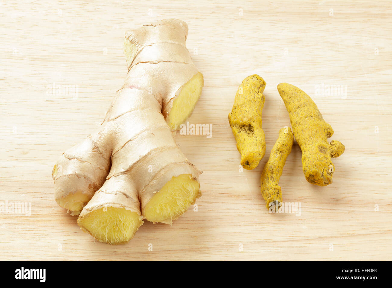 turmeric and ginger roots - Stock Image