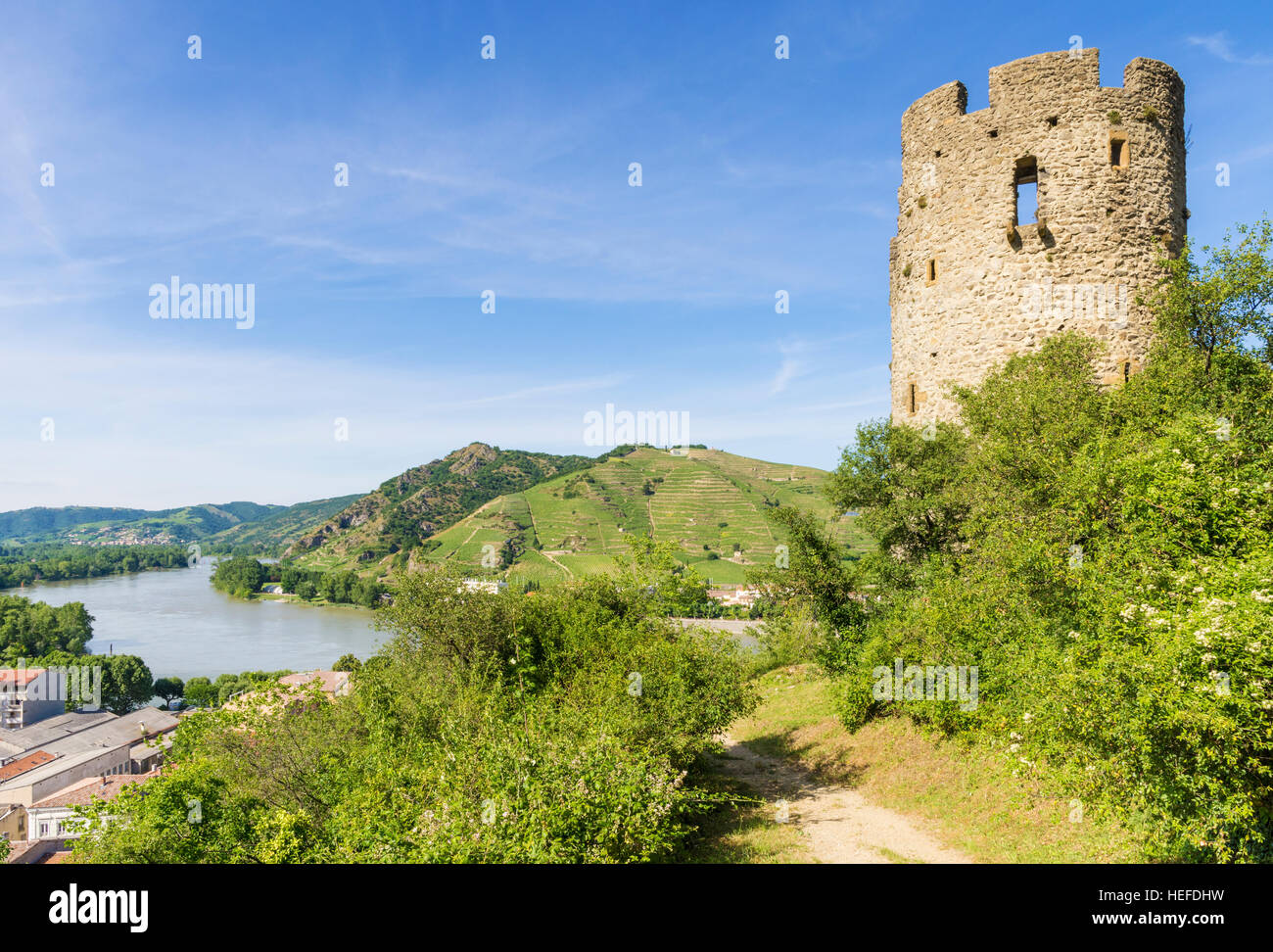 Pierregourde Tower over looking the Rhône River, Tournon-sur-Rhône, Ardèche, France - Stock Image