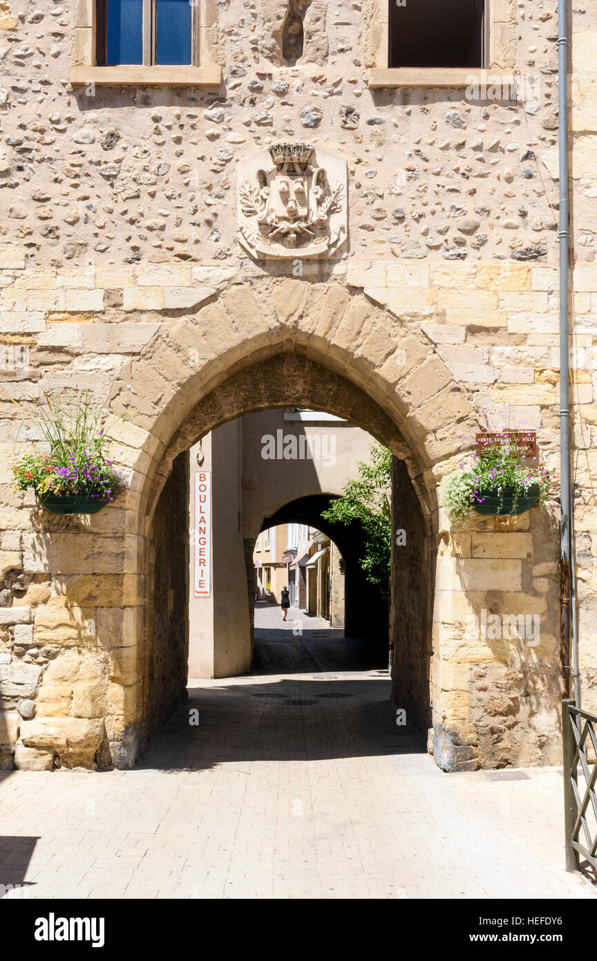 The Mauves Gate, the old south entrance to historic Tournon-sur-Rhône, Ardèche, France - Stock Image