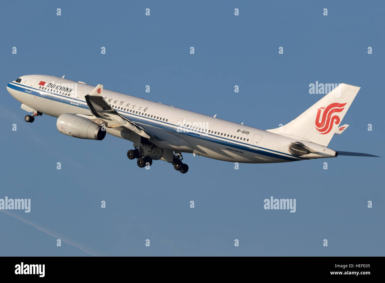 Airbus A330 from Air China taking off from Dusseldorf airport - Stock Image