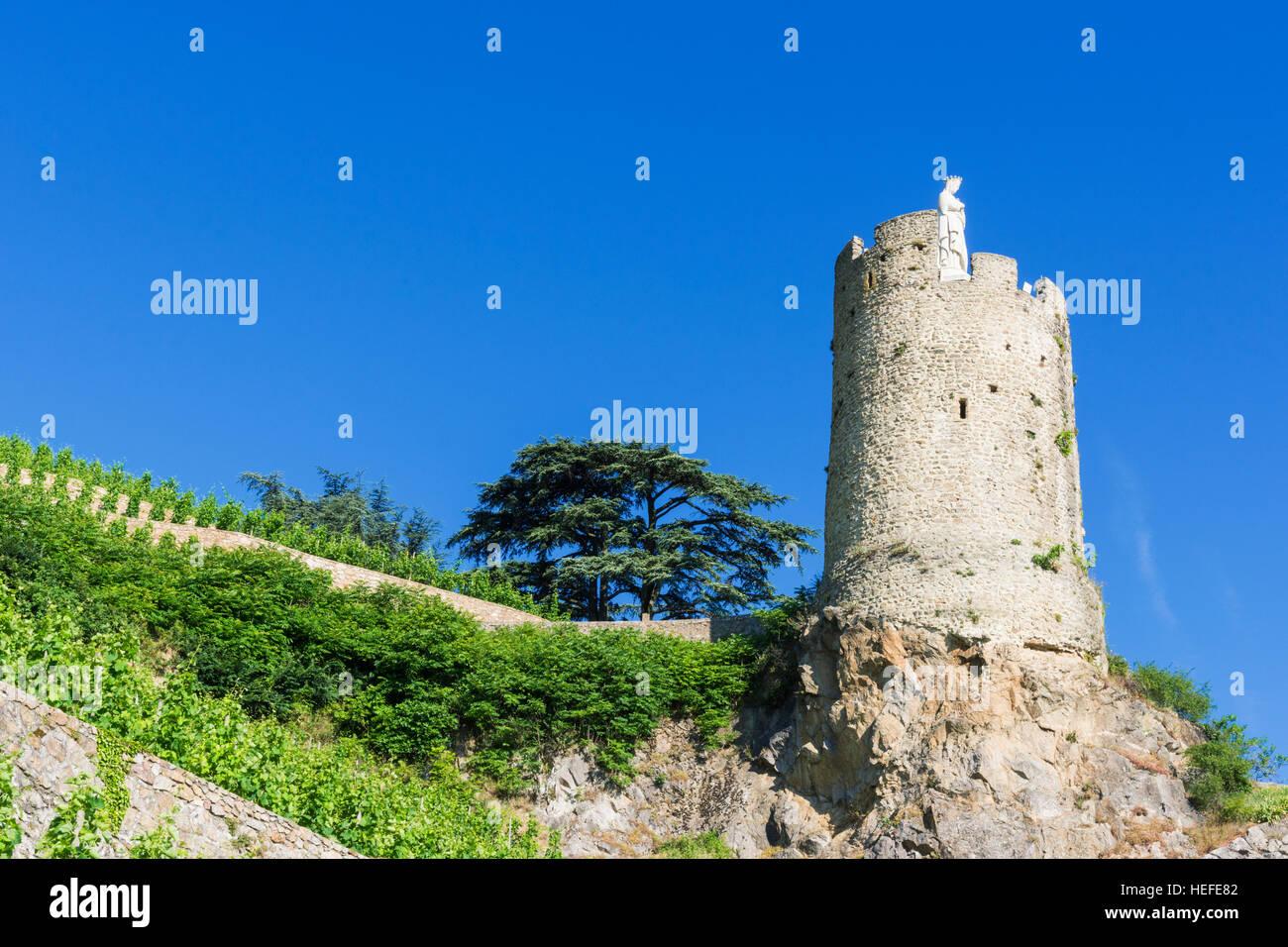 The 16th century watchtower Tour de l'Hôpital overlooked by terraced vineyards above Tournon-sur-Rhône, - Stock Image