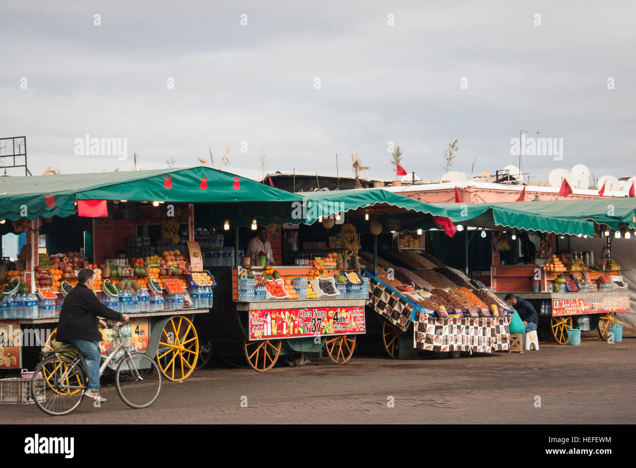 MARRAKESH, MOROCCO - DECEMBER 2016: People on the very busy main square of Marrakesh in Morocco called Jeema el Stock Photo