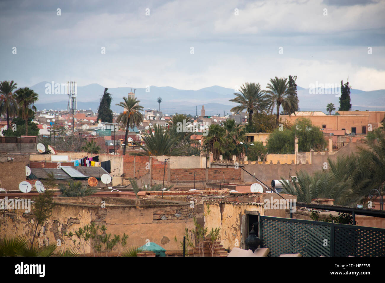 View over the city of Marrakesh in Morocco Stock Photo