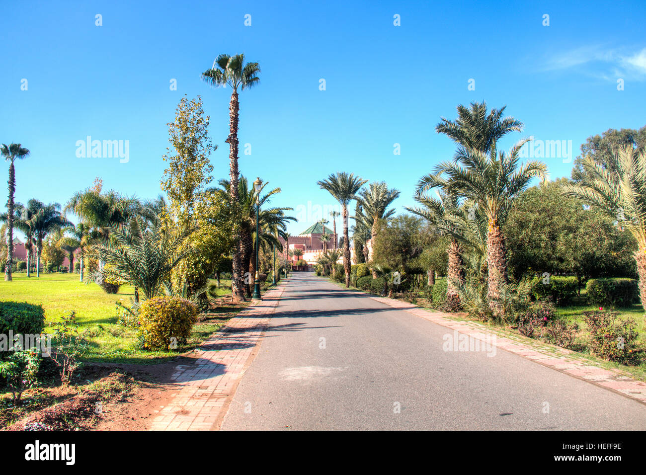 The beautiful gardens of the Royal palace of Marrakesh in Morocco - Stock Image