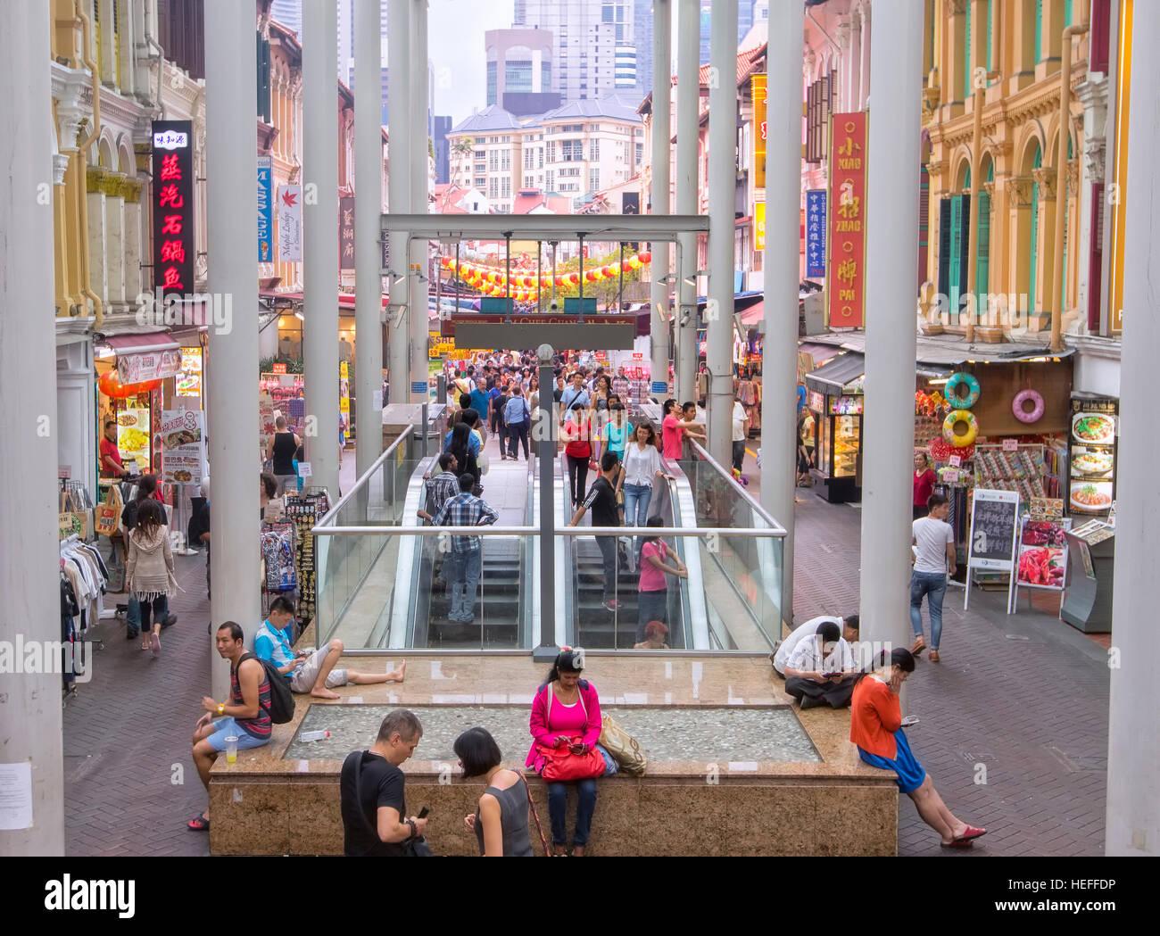 Subway station in Chinatown, Singapore - Stock Image