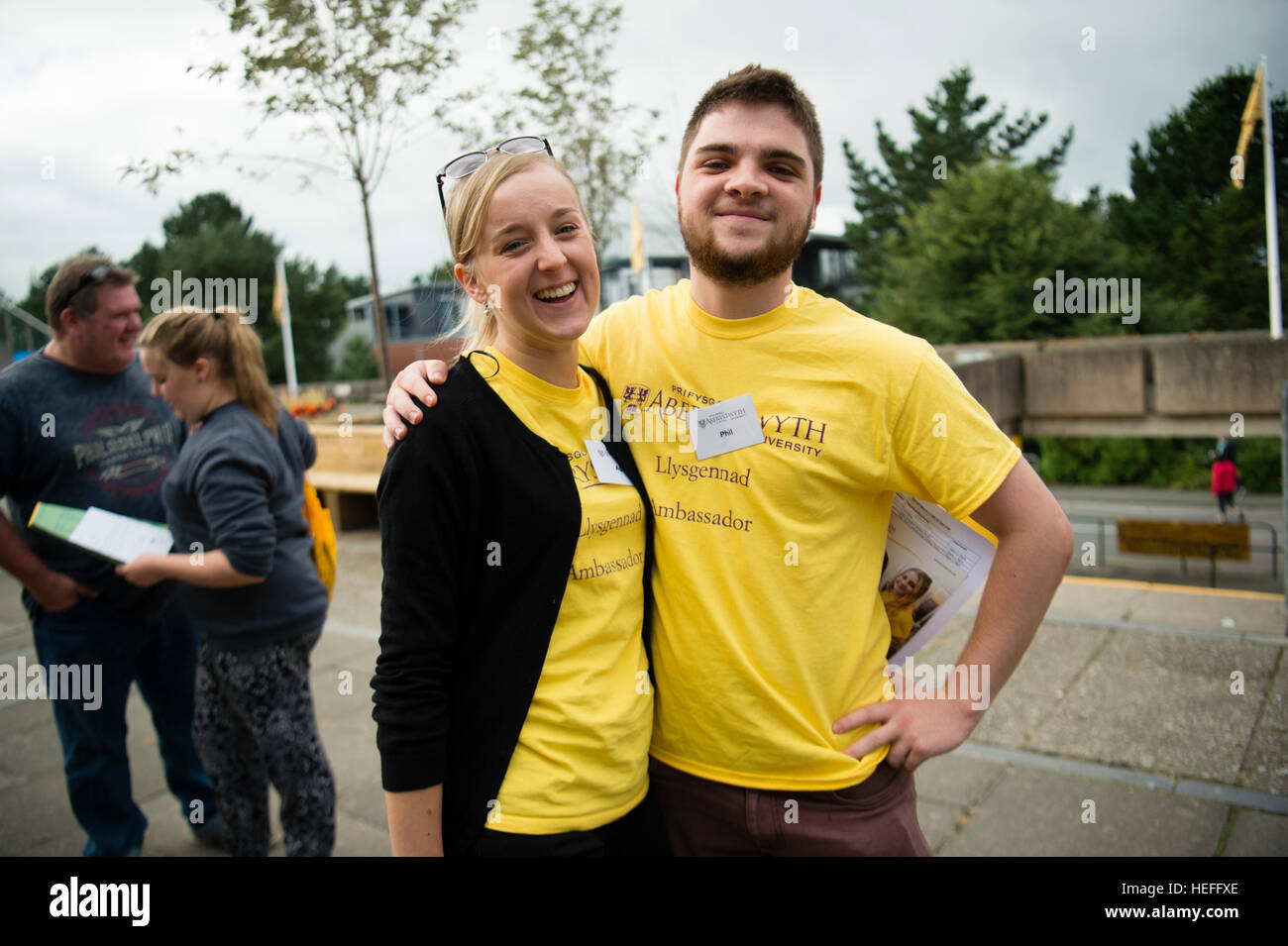 University Eduction in the UK: Student Ambassadors, employed to give advice to Sixth form students visiting Aberystwyth - Stock Image