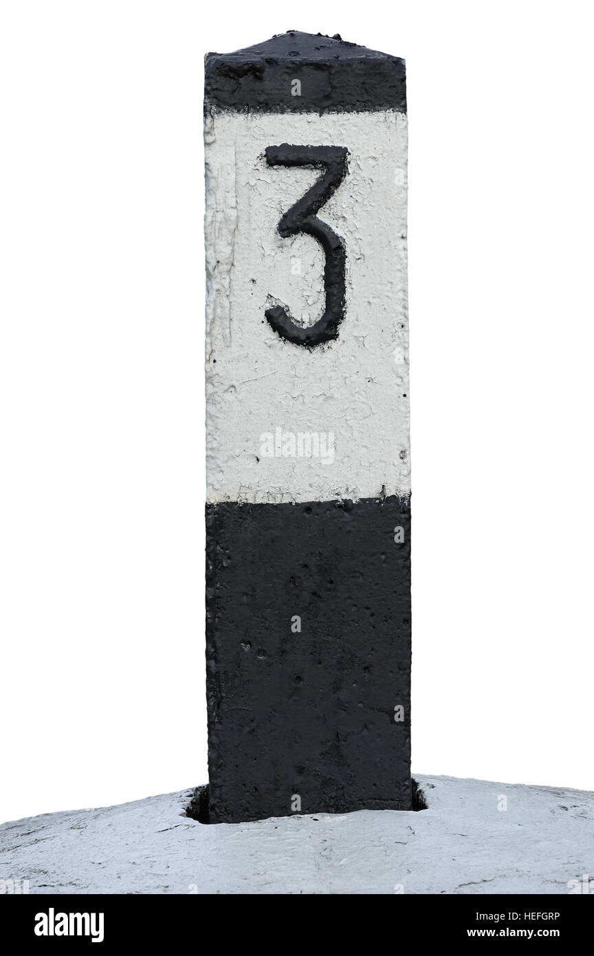 Railroad Route Rail Line Mile Marker In Black And White, Isolated Railway Number 3 Distance Kilometer Milestone - Stock Image