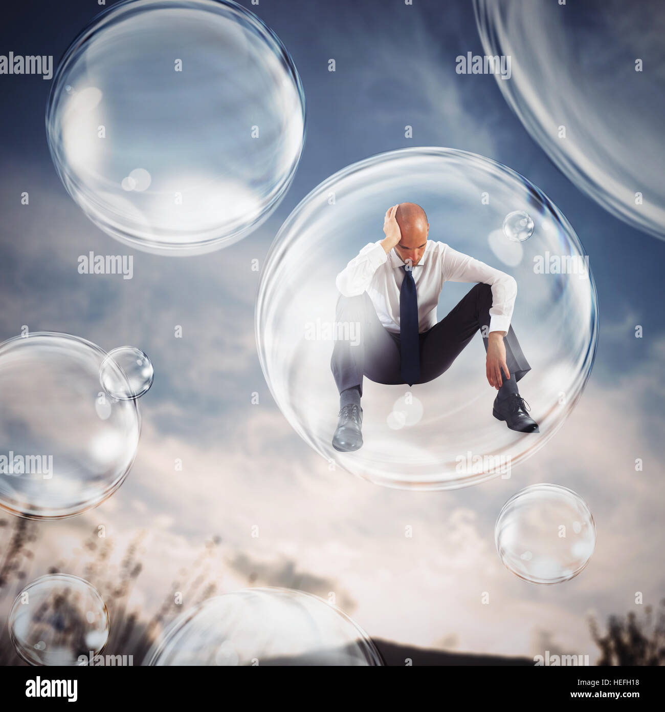 Isolate themselves inside a bubble - Stock Image